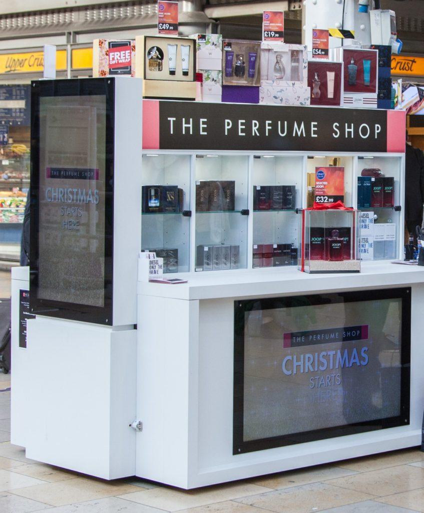 The Perfume Shop on the new POP Retail Mobile Retail Kiosk at Paddington Station