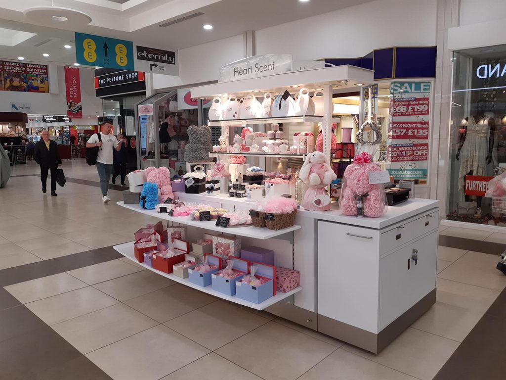Glasgow Forge Shopping Centre Heart Scent mobile kiosk